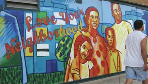 Mural saying 'Love your neighborhood'