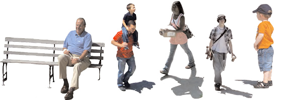 Composite of people doing various activities