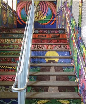 Mural painted on Chicago Loop stairwell
